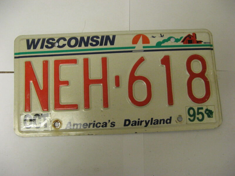1995 95 Wisconsin WI License Plate NEH-618 Natural Sticker