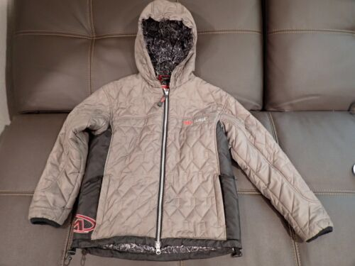 MARKER Boys Hooded Size XL Primaloft Puffer Jacket Gray/Black w/ Red Accents