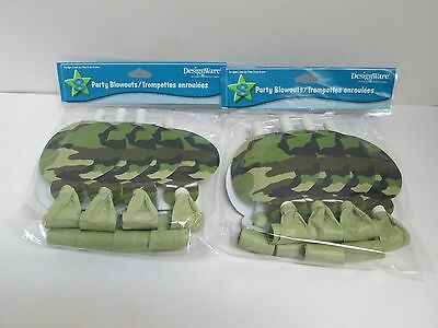 LAGE CAMO PARTY BLOWERS -  2 PACKAGES -  PARTY SUPPLIES (Camo Party Supplies)