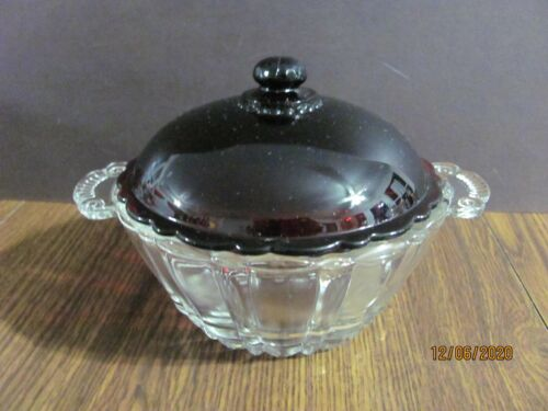 ANCHOR HOCKING CANDY BOWL DISH WITH RUBY RED LID