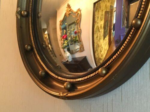 Antique English Convex Hanging Mirror Circa 1920 12.5 inches diameter