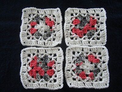 "20-5"" CROCHETED GRANNY SQUARES BLOCKS 4 AFGHAN, AFGHANS* SOFT WHITE, SHADED"