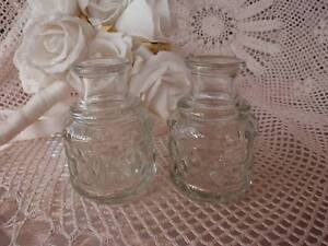 VINTAGE 2 DEPRESSION GLASS SMALL 7CM INDIVIDUAL SAUCE BOTTLES VG Loganholme Logan Area Preview