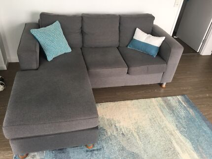 3 Seater lounge / sofa with reversible chaise, newly cleaned.