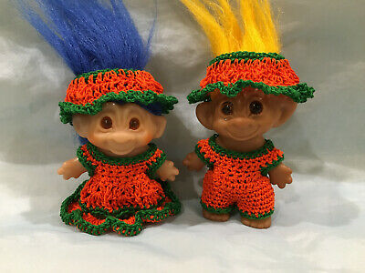 "~Halloween Pumkin: Boy&Girl ~ Troll Doll Clothes Crochet- 2 1/2""-2 3/4"""