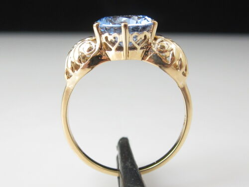 Blue Spinel Ring 14K Yellow Gold Hearts Estate Retro Fine Jewelry Size 7.25