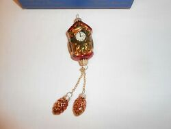 Krebs Glas Lauacha Creation Cuckoo Clock Christmas Ornament  W/ Pine Cone Blown