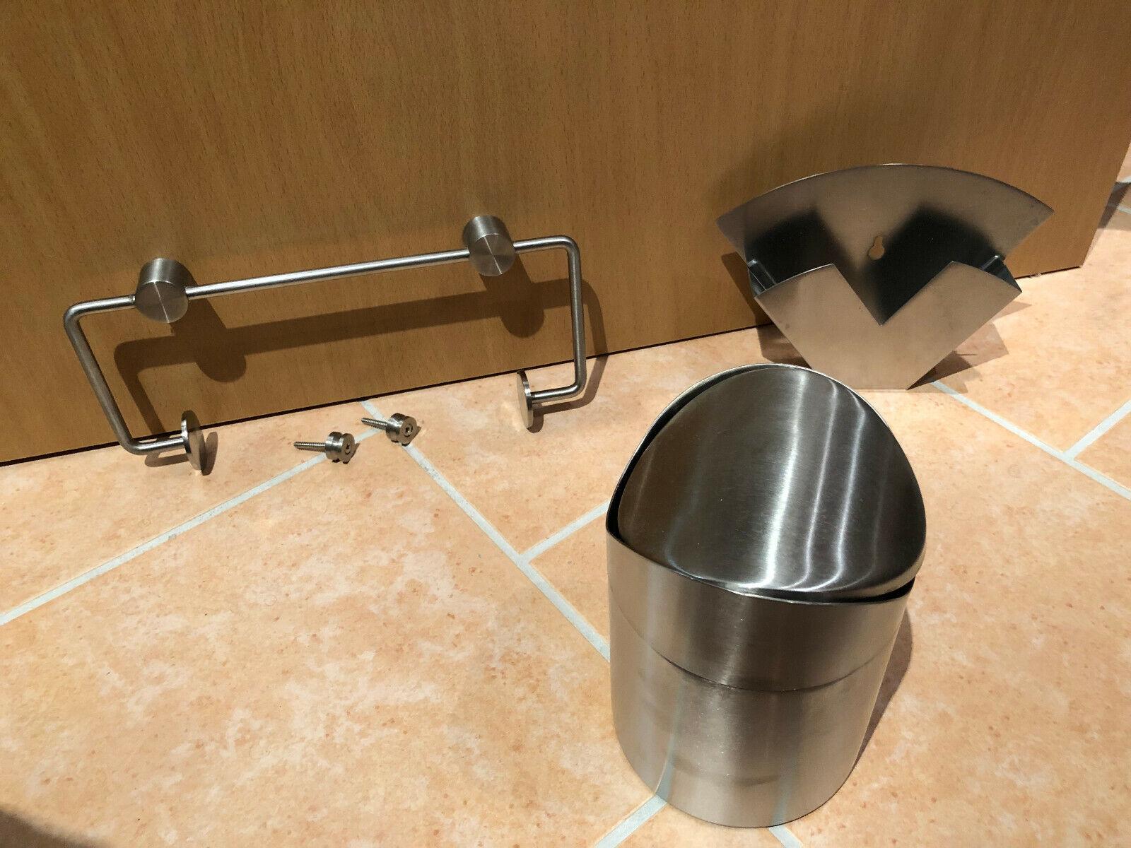 Küchenset Edelstahl Zewa-Rollenhalter Filtertüten Tischabfalleimer