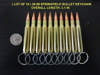 ( LOT OF 10 ) REAL BULLET KEYCHAIN 30-06 SPRINGFIELD