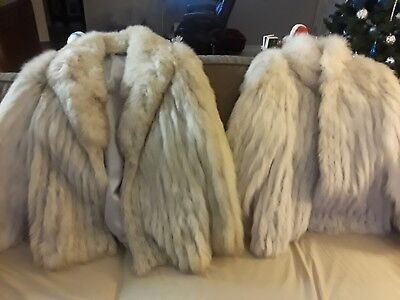 SAGA Blue Fox Fur Coat Size M and the other is L Sell both for good best