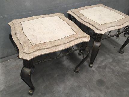 2x Travertine Side Tables 71cm x 71cm RRP $4000+