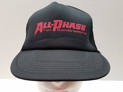All Phase Electric Supply Co Black Mesh Trucker Ball Cap Hat Hipster Snap Back
