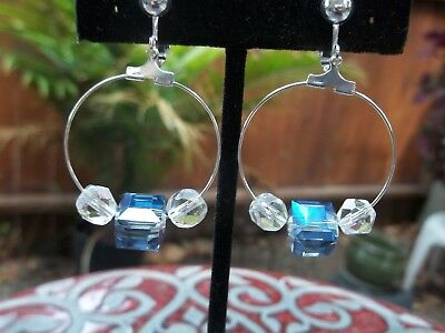 Square Beaded Hoops - Gorgeous Hoop Style, Clear Round & Blue Square Bead Dangling Clip On Earrings