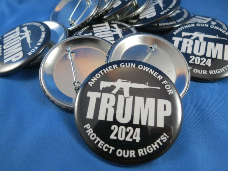WHOLESALE LOT OF 12 JUST ANOTHER GUN OWNER FOR TRUMP PRESIDENT 2024 BUTTONS pin
