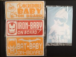 Baby on board permanent car decals