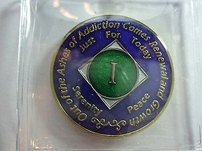 Na Tri Plate Narcotics Anonymous Blue Green Gold Coin 1 Year Medallion