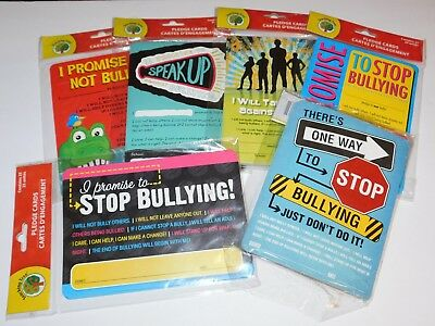 Anti Bully Teacher Curriculum Material No Bullying 25 Pledge Cards in Each Pack