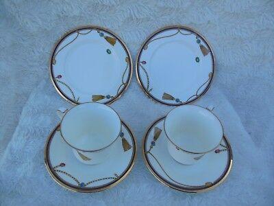 Noritake Tassel 2 Cups 2 Saucers 2 Bread Plates Pattern 4711 Gold Trim