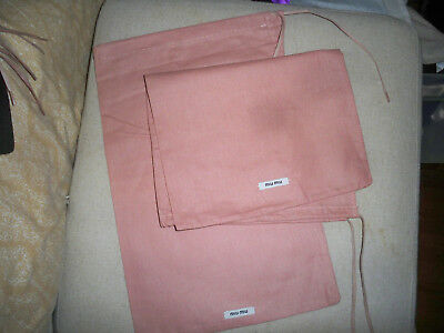 "Two Miu Miu Dusty Rose Linen Drawstring Dust Cover Travel Bag 9 x14"""