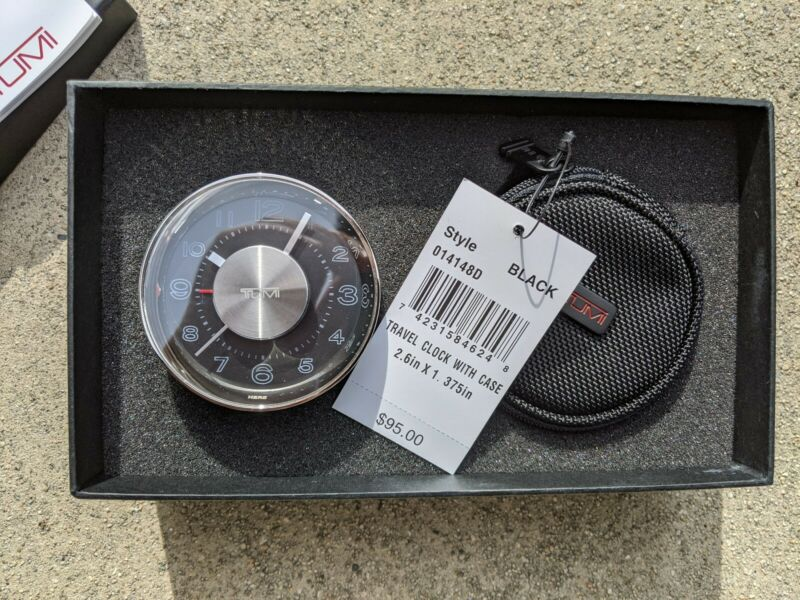 NIB New Box Tumi Travel Alarm Clock Dual Time Zone Christmas Gift Alpha Case