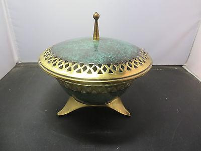 Vintage Judaica Enameled Bowl Glass Brass Marked OPPENHEIM Hand Made Israel Nice