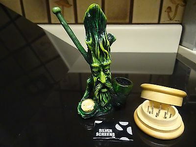 Green Man Tobacco Smoking Pipe + Grinder & 5 Screens  Glass Stone PM 1353+G