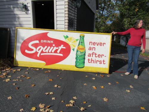 VINTAGE ORIGINAL 1965 SQUIRT SODA SIGN HUGE 10 FOOT LONG EMBOSSED SIGN LOOK !