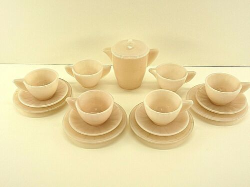 Akro Agate Small Interior Panel Complete 16 Piece Pink Luster Child Tea Set /#2