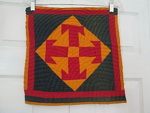 Antique Vintage Quilt Block Square HAND Quilted Cutter Red Navy Cheddar 15 X 15""