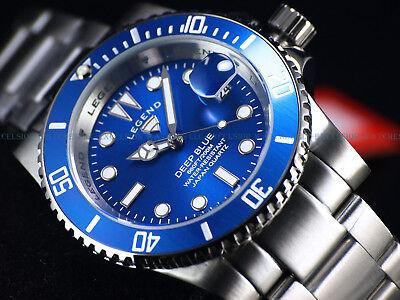 NEW Legend Men's 200m Deep Blue Diver Egyptian Blue Dial Miyota Quartz SS Watch Deep Diver Silver Dial