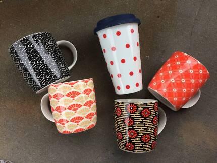 Set 4 Casa Domani Coffee Mugs and Tall Coffee Travel Mug