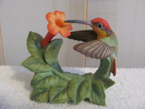 Bronson Collectibles Figurine  Ruby Topaz Hummingbird with Trumpet Creeper 1996