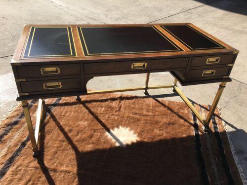 Vintage Sligh Furniture Executive Desk Wood & Brass