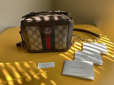 Auth Gucci Ophidia Gg Mini Shoulder Canvas Bag Brand New Retails For $1980