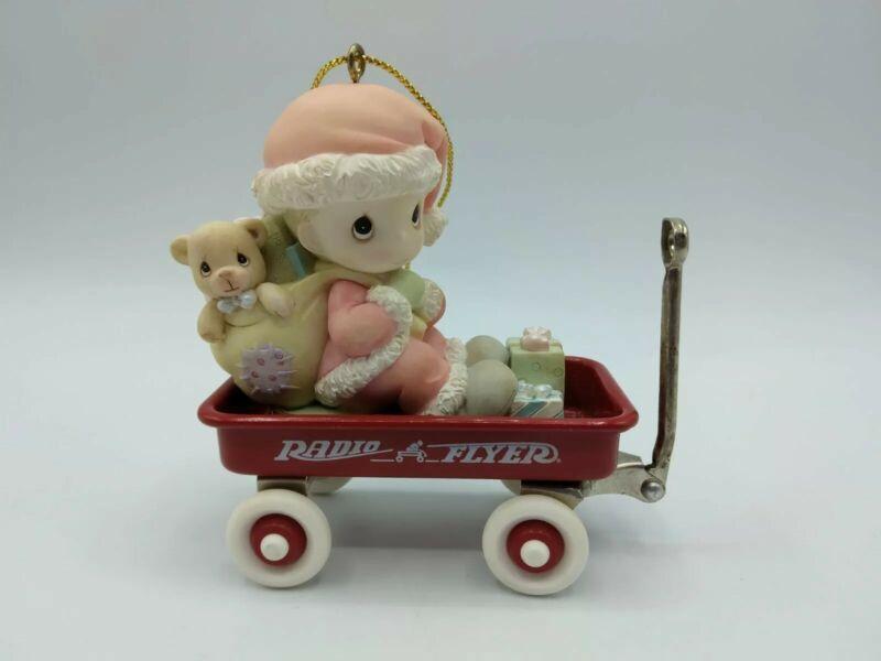 Precious Moments Enesco Radio Flyer Christmas Ornament Real working Wagon