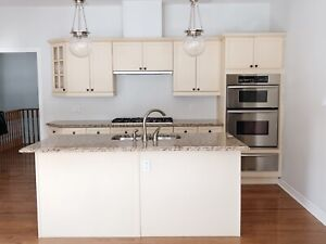 Kitchen cabinets, granite counter and sink with faucet