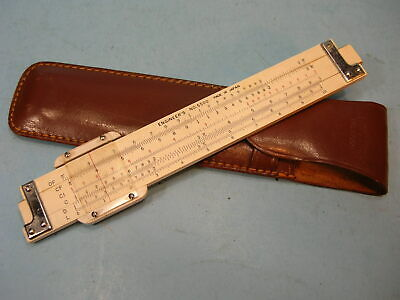 """Vintage ENGINEER'S No. 5500  Double-sided 7"""" POCKET SLIDE RULE w/ Leather Case"""