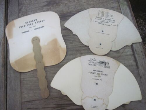 3 Antique Advertising Hardboard Advertising Fans for CAMBRIDGE, MD. Businesses