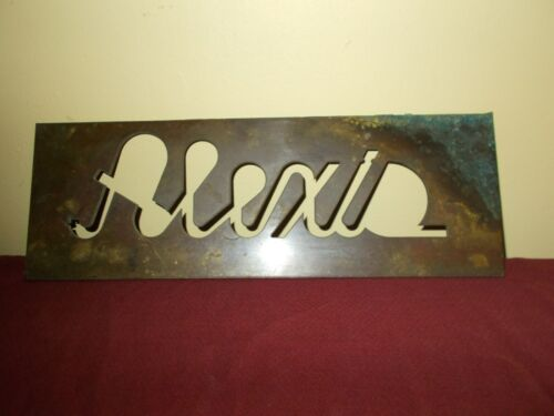 VINTAGE ALEXIS NAME PLATE STENCIL SIGN  ADVERTIZING DISPLAY