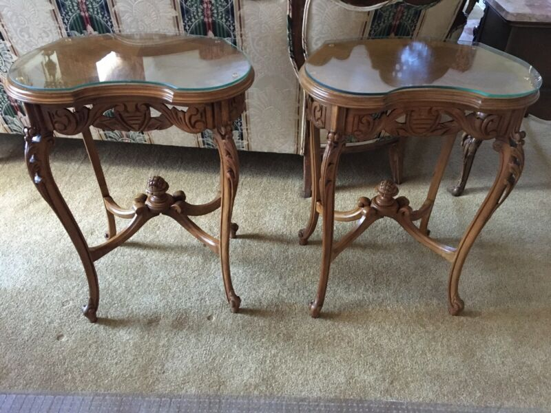 ~Pair of Antique French Kidney Shaped Side Tables w/glass Tops - Original Owner~