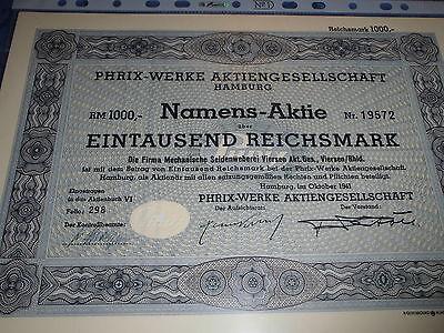 40 : histor.Wertpapier / Aktie : PHRIX Werke AG , Hamburg , Okt. 1941 , 1000 RM
