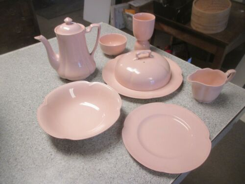 Vtg. Rosedawn Johnson Bro Lot Coffee/Tea Pot plate warmer cover egg holder pink