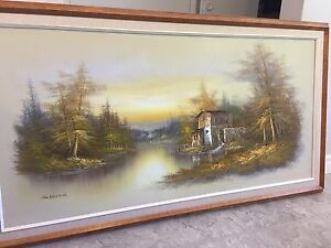 Painting with wood frame