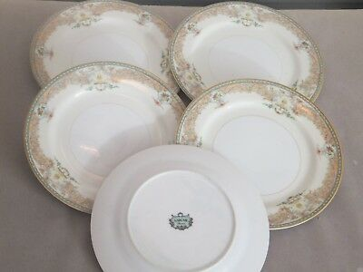 China    Narumi   blue/green &tan edge floral cream   5x 19cm Plates