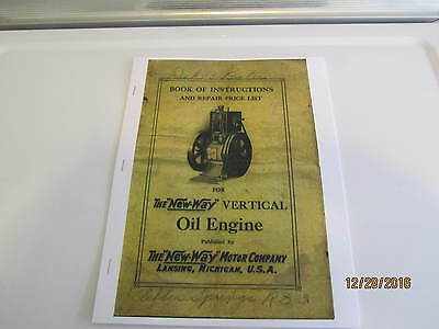New Way Hit and Miss Verticle kerosene Engine Color Catalog  Reprint make break
