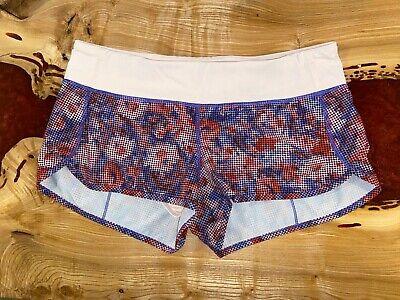 Lululemon digital floral Checker Blooms Multi/Minty Pink Speed Shorts size 10