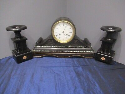 Victorian Marble Slate Bracket Clock Mantle Clock Garniture Set Needs Service