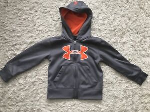 Size 5 Under Armour hoodie. Grey and orange.