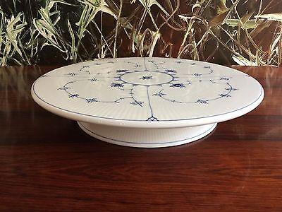 selmalet Gerippt / Blue fluted Plain  TORTENPLATTE AUF FUSS (Royal Blue Platten)