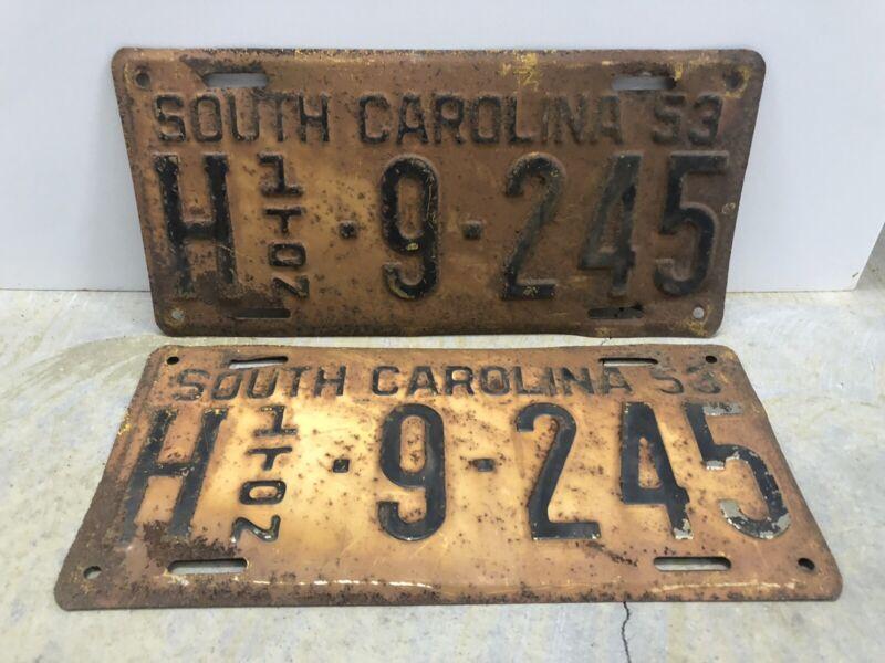 Vintage 1953 South Carolina 1 Ton License Plate Pair
